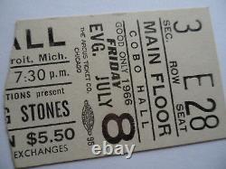 ROLLING STONES 1966 Original CONCERT TICKET STUB Detroit EX+