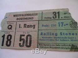 ROLLING STONES 1967 CONCERT TICKET STUB Dortmund, Germany