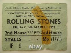 ROLLING STONES 1971 CONCERT TICKET STUB Manchester University, UK
