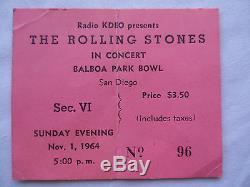 ROLLING STONES CONCERT TICKET STUB Balboa Park, San Diego
