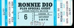 RONNIE DIO Lubbock Municipal CONCERT TICKET STUB Megadeth SAVATAGE TX FEB 6 1988