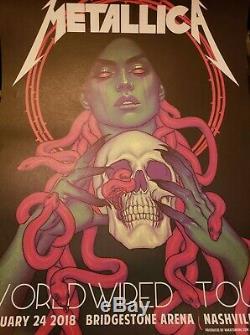 Rare METALLICA NASHVILLE Concert Gig POSTER Print Snakes & Skulls + Ticket Stub