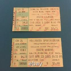 Roger Waters 1985 & David Gilmour 1984 2 Concert Tour Ticket Stubs Pink Floyd