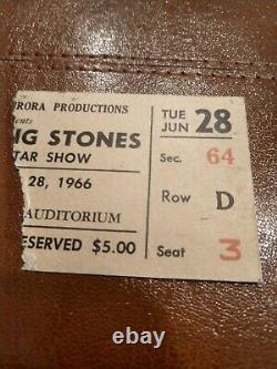 Rolling Stones 1966 Concert Ticket Stub Buffalo Memorial Auditorium