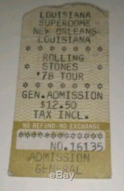 Rolling Stones 1978 NEW ORLEANS Concert T-SHIRT, TICKET STUB, PROGRAM, TOUR PIN