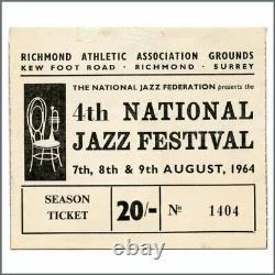 Rolling Stones 4th National Jazz Festival 1964 Concert Ticket Stub (UK)