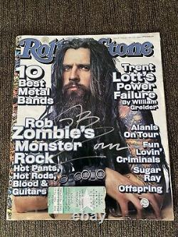 SIGNED ROB ZOMBIE ROLLING STONE MAG COVER With CONCERT TICKET STUB COA