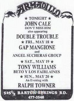 STEVIE RAY VAUGHAN & JOHN CALE Concert Ticket Stub AUSTIN 5/17/79 ARMADILLO Rare