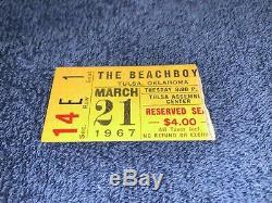 THE BEACH BOYS 1967 CONCERT TOUR TICKET STUB Tulsa, Oklahoma Assembly BEACHBOYS