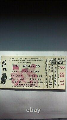 THE BEATLES, CONCERT TICKET STUB, GATOR BOWL, Sept 11, 1964. Jacksonville, FL