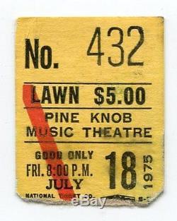 THE CARPENTERS Concert Ticket Stub 7-18-1975 Pine Knob Music Theatre Michigan