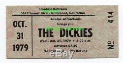THE DICKIES / THE GO-GO'S Concert Ticket Stub 10-31-79 Stardust Ballroom CA RARE