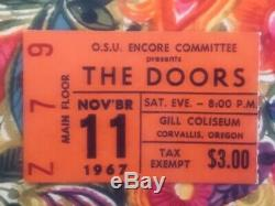 THE DOORS (Band)-Jim Morrison-1967 Concert Ticket Stub (Oregon State University)