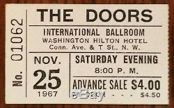 THE DOORS-Jim Morrison-1967 RARE Concert Ticket Stub (Washington D. C. Hilton)