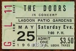THE DOORS-Jim Morrison-1968 Concert Ticket Stub-Farmington Lagoon Patio Gardens