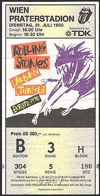 THE ROLLING STONES VIENNA concert Ticket Stub URBAN JUNGLE European Tour 1990