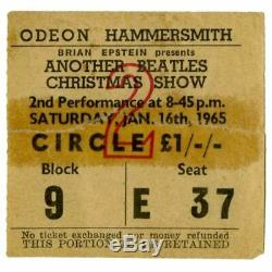 The Beatles 1965 Another Beatles Christmas Show Concert Ticket Stub (UK)