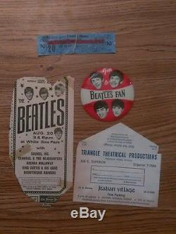 The Beatles 1965 Chicago concert Ticket Stubs, button & bonus ads WOW
