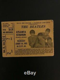 The Beatles Authentic CONCERT TICKET STUB Atlanta Stadium August 18 1965