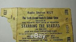 The Beatles Concert Ticket Stub August 19, 1965 Houston, Texas