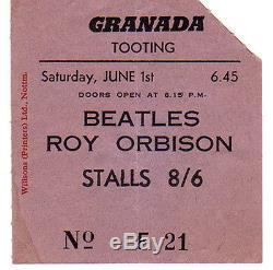 The Beatles/Roy Orbison Concert Ticket stub Original, Tooting, England 1963