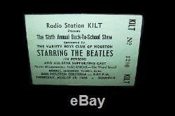 The Beatles Sam Houston Coliseum Concert Ticket Stub 1965, rare vintage