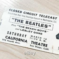 The Beatles Ticket Stub March 14 1964 Closed Circuit Concert Telecast San Diego