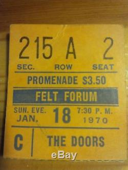 The Doors 1970 MSG Felt Forum Concert Original Ticket Stub + Bonus Stub