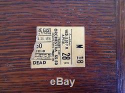 The Grateful Dead, Fillmore East, April 28, 1971, Concert Ticket Stub, Rare