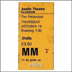 The Pretenders 1980 Autographed Concert Programme & Ticket Stub (UK)