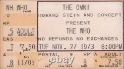 The Who / Lynyrd Skynyrd 1973 Tour The Omni / Atlanta Concert Ticket Stub / Nmt