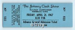 UNUSED! 1967 Vintage JOHNNY CASH Concert Ticket WATERLOO, IOWA / Country Music