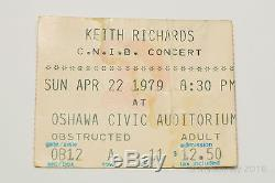 USED Keith Richards New Barbarians 1979 CNIB Concert Ticket Stub Rolling Stones