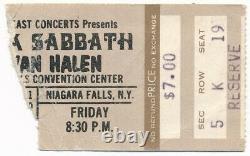 VAN HALEN & BLACK SABBATH 1978 RARE Concert Ticket Stub Niagara Falls, NY