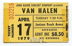 VAN HALEN Concert Ticket Stub 4-17-1979 Jantzen Beach Ice Arena Portland Oregon