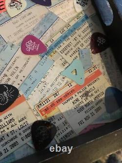 VTg concert ticket stubs 80s 90s rock hair bands guitar picks display Shows Band