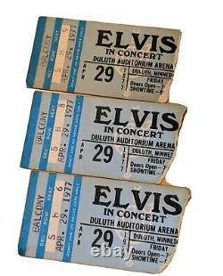 Vintage 1977 Elvis Concert Ticket Stubs, Set of 3, April 29, Duluth Auditorium