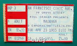 Vintage 1985 MADONNA VIRGIN TOUR Concert Ticket Stub San Francisco Civic Aud