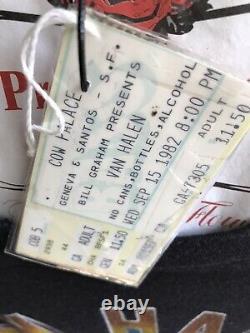 Vintage 80s 1982 VAN HALEN Live Rock Concert Tour T SHIRT With Ticket Stub S M