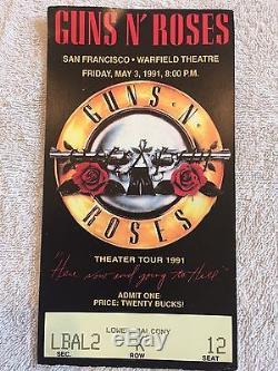 Vintage Guns N Roses Concert Shirt 1991 Theater Tour Sz Large plus a Ticket Stub