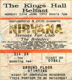 Vintage Nirvana Concert Ticket Stub Belfast 1992