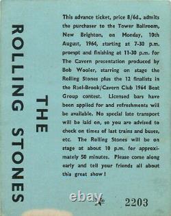 Vintage Rolling Stones Concert Ticket Stub Tower Ballroom New Brighton Aug 1964