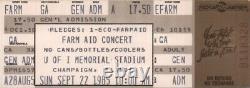Willie Nelson / Waylon Jennings / Bob Dylan 1985 Farm Aid Unused Concert Ticket